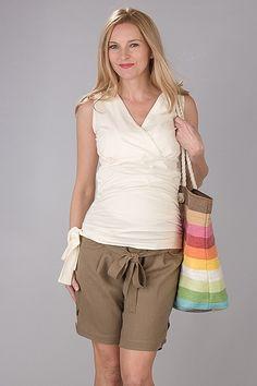 Hnědé těhotenské kraťasy s vázáním Bermuda Shorts, Casual Shorts, Women, Fashion, Moda, Fashion Styles, Fashion Illustrations, Shorts, Woman