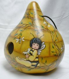 Bee Baby Bee Hive Gourd Birdhouse - Hand Painted by FromGramsHouse on Etsy