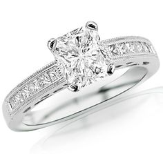 1.08 Carat Radiant Cut / Shape 14K White Gold Channel Set Princess Cut Diamond Engagement Ring ( G-H Color , SI2 Clarity )