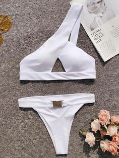 In-X One shoulder bikini 2019 Buckle high cut swimsuit Sexy thong bikini Hollow out bathing suit White push up swimwear women Cute Swimsuits, Cut Out Swimsuits, Women Swimsuits, 50s Bathing Suit, Sheer Swimsuit, Bikini Swimsuit, One Shoulder Swimsuit, Black And White Bikini, Black White