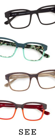 SEE 1425: Retro-inspired square eyeglass frame featuring contrasting inside colors and a two-tone wood effect detail. Handmade in Italy.