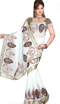 Get Fashionable Latest #WhiteChiffonDesignerSaree Product code: KDS-39214 Price: INR 3750 (Unstitch Blouse), Color: White Shop Online now: http://www.efello.com.my/Saree_Fashionable-Latest-White-Chiffon-Designer-Saree,-Sari_37653