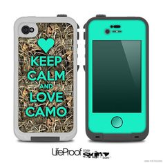 The Trendy Green Keep Calm & Love Camo Real Camouflage Skin for the iPhone LifeProof Case from Design Skinz. Saved to Skinz you'll LOVE. Camo Phone Cases, Iphone 5c Cases, Iphone 4, Country Phone Cases, Animal Bag, Cute Cases, Keep Calm And Love, New Phones, Camouflage