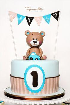 Teddy bear Birthday Cake - Contact Hyderabad Cupcakes to order! Teddy Bear Birthday Cake, Teddy Bear Cakes, Baby Birthday Cakes, Baby Boy Cakes, 1st Boy Birthday, Baby Shower Cakes, 1st Birthdays, Cupcakes, Bears