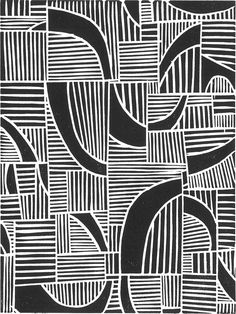 Abstract linocut print based on a lesson idea by Jon Rothenberg Textile Patterns, Print Patterns, Geometric Patterns, Graphic Patterns, White Patterns, Pattern Print, Textiles, Impression Textile, Illustration