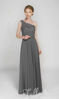 Long One Shoulder Lace Bridesmaid Dress with Chiffon Skirt TBQP363 click for 40+ colors