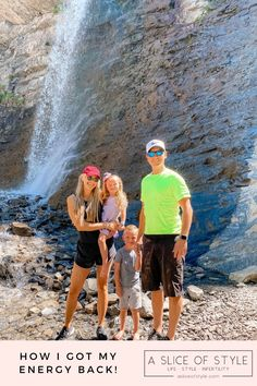 Epstein-Barr Virus by popular Utah lifestyle blog, A Slice of Style: image of Jenica Parcell and her family standing next to a waterfall. Lifestyle Blog, Utah, Jute