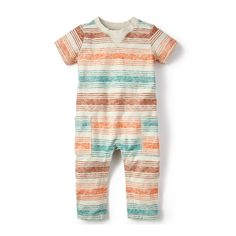 He'll love bouncing around on new adventures in our colorful baby boy striped romper. Explore cool onesies for baby boys & baby rompers from Tea Collection.