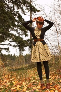 Yellow Poka-Dot Dress, Black Tights, Black Cardigan