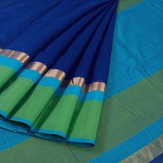 Handwoven Navy Blue Maheshwari Silk Cotton Saree With Ganga Jamuna Border 10017031 - AVISHYA.COM