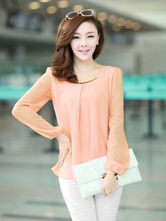 This chiffon shirt is in fashion Korean style with solid color, round collar and long sleeves. It is soft and comfortable to wear. It can show your personality perfectly. It is a perfect option for you, act now.  Features: * Solid color * Long sleeves * Round neck * Pullover design * With...