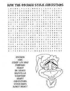 How the Grinch stole Christmas word search Christmas Word Search, Christmas Words, Christmas Colors, Christmas Holidays, Christmas Crafts, Christmas Ideas, Family Christmas, Christmas Tree, Grinch Christmas Party