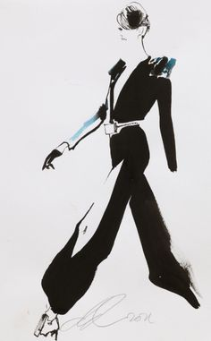 Fashion illustration by David Downton, July 2011, Stéphane Rolland, Paris Couture.
