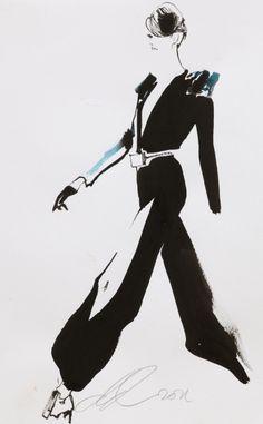 Fashion illustration by David Downton, July 2011, Stéphane Rolland, Paris Couture.