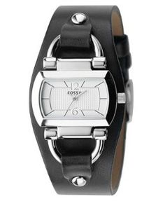 Fossil Watch, Women's Black Leather Strap ES2483