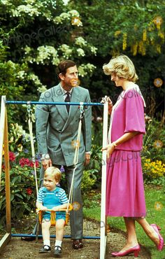 June 12, 1984: Prince Charles, Princess Diana with Prince William at a photocall in the garden of Kensington Palace, London. Photo By:Globe Photos, Inc
