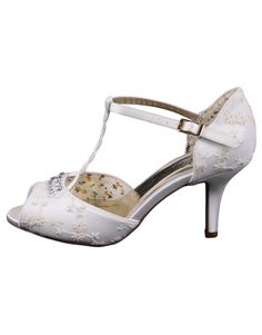 70225941703 Hazel is a vintage styled peep toe wedding sandal with ivory lace