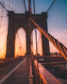 Such an amazing perspective on the Brooklyn Bridge! Sunrise Photography, Tumblr Photography, Urban Photography, Travel Photography, New York Photography, New York Travel, Travel Usa, Empire State Building, New York Pictures