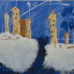Per Nylén - Oljemålningar Stockholm - Hus på moln 20