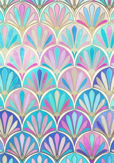 Glamorous Twenties Art Deco Pastel Pattern Art Print - blue, pink, purple, turquoise.