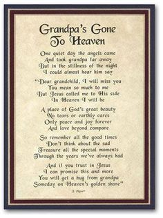 Definitely needing this today. Love and miss my grandpa.