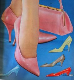 1960s shoes. 1964- Three heel heights. tall stiletto and mid and short kitten heels.