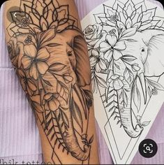 Dope Tattoos, Body Art Tattoos, Tattoos For Guys, Tattoo Drawings, Tattoo Sketches, Mandala Elephant Tattoo, Elephant Tattoo Design, Elephant Thigh Tattoo, Shoulder Tattoos For Women