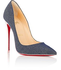 Christian Louboutin So Kate Denim & Patent Leather Pumps - 9 Red