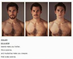 Actually, it really IS science. A study had 351 women rate attractiveness of 10 men in the following stages of facial hair: clean shaven, light stubble (5 days unshaven), heavy stubble (10 days unshaven), and fully bearded.   Heavy stubble was viewed as the most attractive, while clean-shaven and fully bearded tied.