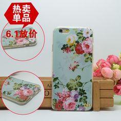 Para fines iphone caja del teléfono 6 4.7 tpu del gel de sílice dibujo coloreado exfoliante suave de la flor fresca móvil caja del teléfono vendedor caliente