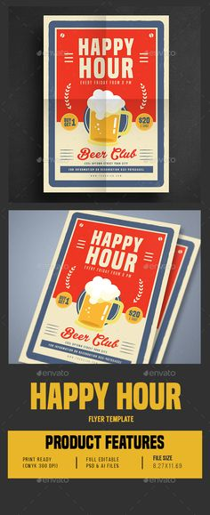 Retro Old Vintage Happy Hour Beer Promotion PSD Flyer Template O Only Available Here