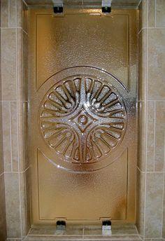 Cast Glass shower door by Gomolka Design Studio