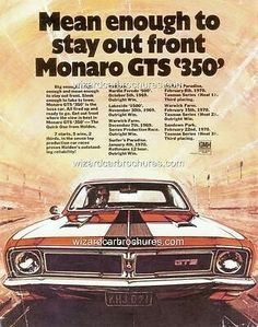1969 HT Monaro GTS 350 - stay out in front - Aussie muscle cars - 1969 HT Monaro GTS 350 – stay out in front - Man Cave Gear, Car Man Cave, Australian Muscle Cars, Aussie Muscle Cars, Holden Australia, Holden Monaro, Best Classic Cars, Classic Auto, Car Brochure