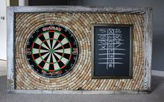 Natural Wine Cork Dartboard Backer and Scoreboard | Game Room Décor | Salvaged Window Frame with Wine Cork Dartboard and Scoreboard
