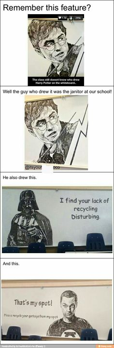 So talented! I hope he at least does art on the side while being a janitor!!