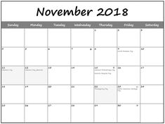 Free printable Calendar November 2018 Creator Table