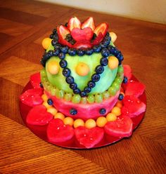 cake made of fruit | The fresh fruit cake I made! :) | Party Ideas