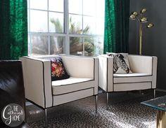 DIY Ikea Hack Cream and Black Club Chairs