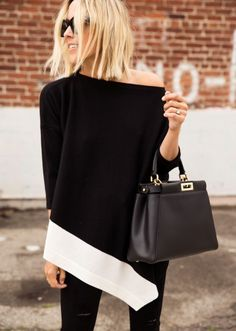 Damsel in Dior | Everywhere #StJohnKnits black and white oversized knit sweater PreFall2015 sjk.com