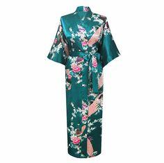 Vert clair Femelle Robe Peignoir Style Longues Femmes de vêtements de Nuit Kimono De Bain robe Mujer Pijama Plus Taille S M L XL XXL XXXL Zh01K dans Peignoirs de Accessoires et vêtements pour femmes sur AliExpress.com | Alibaba Group