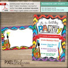 Rainbow Art Party INVITATION & THANK YOU Set by PixelStickStudio
