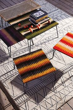Anthropologie EU Hand-Loomed Nesting Table. Handwoven from abaca fiber and encased in resin, these textile designs were woven by Philippine artisans who created the designs based on visions from their dreams. Each design is specific to the weavers own village.