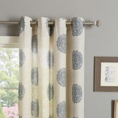 Medallion Printed Linen Blend Grommet Top 84-inch Curtain Panel Pair - Overstock™ Shopping - Great Deals on Curtains
