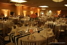 Laura and Joe added a navy and white striped runner, and all of their napkins were folded like sailboats.