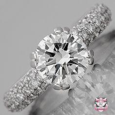 Pave Diamond Engagement Ring - Certified Edwardian 1.70ct G/VS Diamond