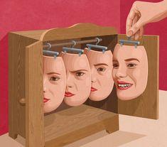 Put on a happy face Art Print by John Holcroft Conceptual Art, Surreal Art, Art Pop, Art Visage, Satirical Illustrations, Satire, Face Art, Collage Art, Art Inspo