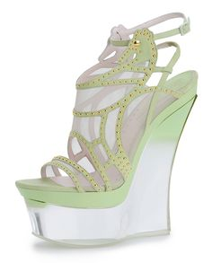 Versace Green Wedge -- you could win a piece of the Lucite trend for spring: http://blog.luciteinternational.com/lucitelux-pinterest-giveaway/