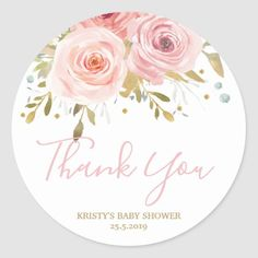 Shop Blush Pink Floral Baby Shower Girl Favour Classic Round Sticker created by LollipopParty. Personalize it with photos & text or purchase as is! Baby Shower Invites For Girl, Baby Shower Invitations, Fotos Baby Shower, Shower Baby, Bridal Shower, Bloom Baby, Floral Baby Shower, Vintage Roses, Vintage Pink