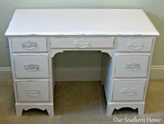 Vintage desk painted with Annie Sloan Chalk Paint in Pure White and decoupaged drawers for an unexpected surprise from Our Southern Home White Chalk Paint, Annie Sloan Chalk Paint, White Bedroom Set, Homemade Chalk Paint, Fabric Drawers, Decoupage Tutorial, Set Of Drawers, Chalk Paint Furniture, Furniture Hardware
