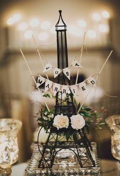 just married Eiffel Tower // photo by Ariel Renae, florals by Cedarwood Weddings // View more: http://ruffledblog.com/multicultural-nashville-wedding/